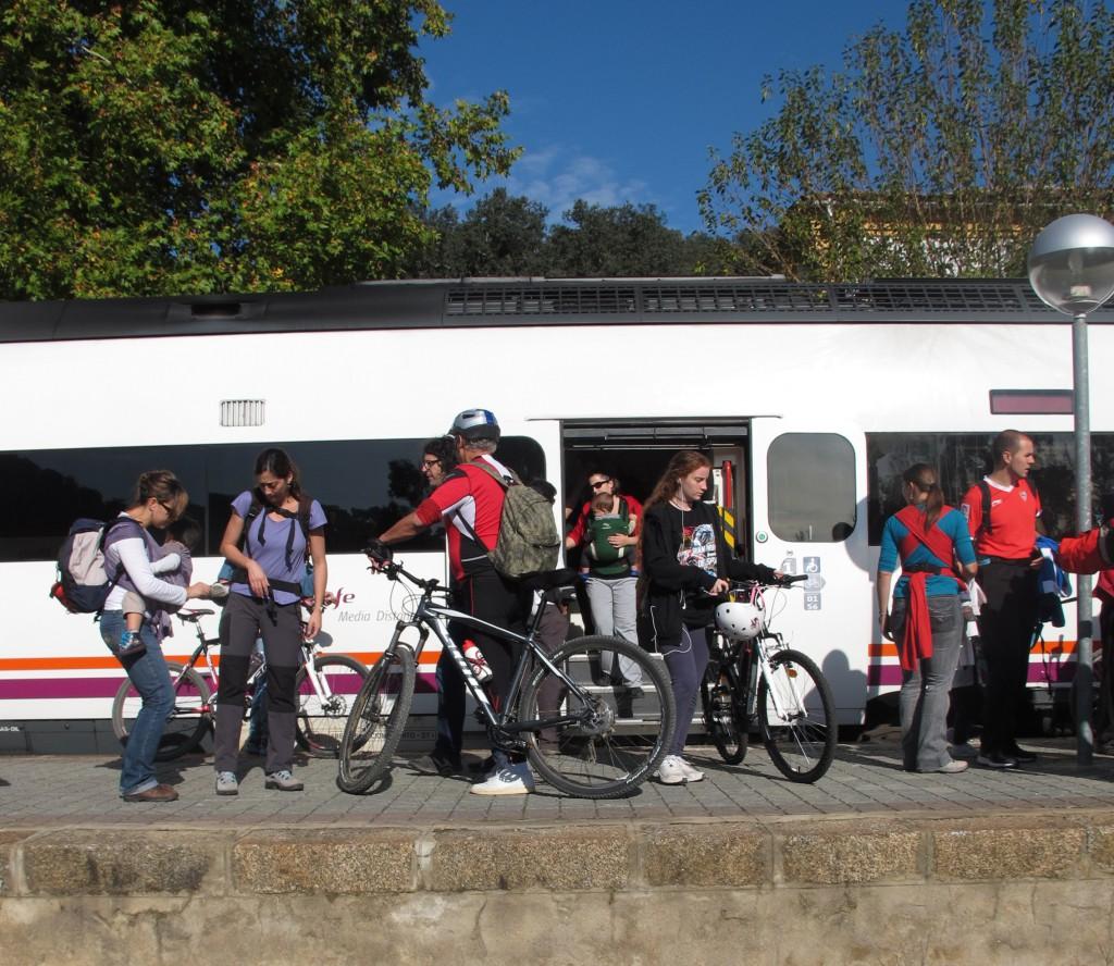 Llega en tren con tu propia bici, pero no olvides llamar antes a RENFE al 954 048 011. Fotografía de Araceli Pardal.