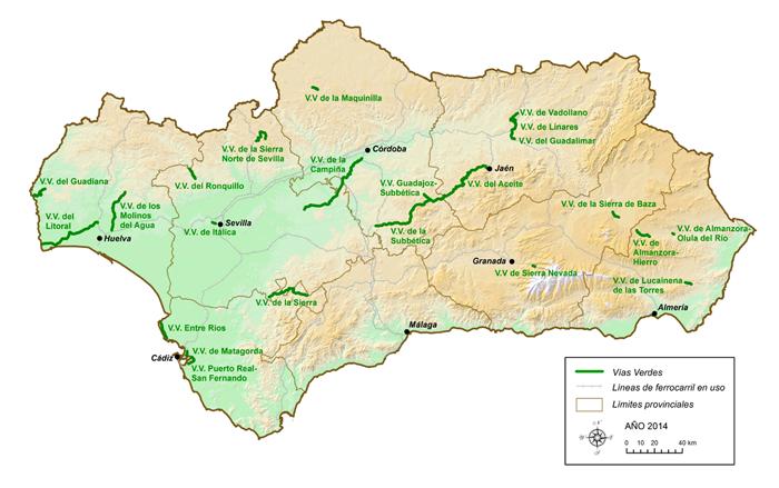 Mapa de itinerarios en las Vías Verdes de Andalucía. (fuente página web Vías Verdes)
