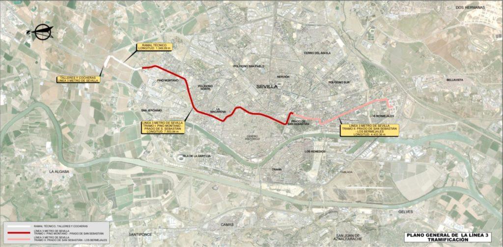 Mapa de líneas de la red de metro de Sevilla.
